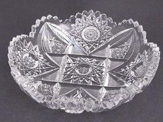 Offering This ABP antique cut glass low dish From the American brilliant period 1886 glass is water clear and cutting is sharp in diameter high and weighs lbIn good condition no chips cracks or cloudiness, Froo . Antique Dishes, Antique Glassware, Vintage Dishes, Antique China, Vintage Items, Vintage Pyrex, Antique Plates, Vintage Kitchenware, Antique Bottles