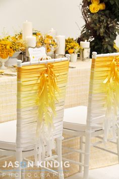 #Yellow wedding chairs, ribbons tied around the chairs...