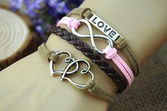 Infinity charm braceletsilvery loveinfinitybrown by HandmadeTribe, $5.99