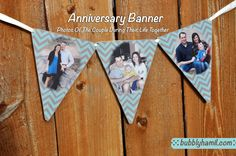 Anniversary Banner: Perfect for milestone anniversary party – the honored couple and guest can get a glimpse into the happy couple's life together.  Go to Bubblyhamil.com to view more custom banner options. #Anniversary #banner