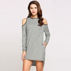 Long Sleeve Round Collar Cold Shoulder Asymmetrical Hem Casual Dress