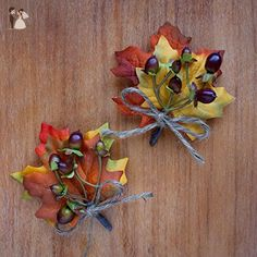 2 pcs Berries Boutonnieres with Fall Leaves - Wedding Flowers by BalsaCircle - Wedding table decor (*Amazon Partner-Link)