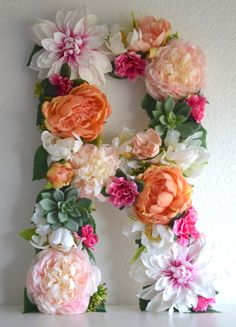 """This listing is for a 19"""" floral letter that can be hung on the wall. These letters are perfect for bridal showers, wedding decor, baby showers, nursery decor, personalized gifts, birthday parties, photo shoot props, sorority events, and more."""
