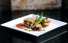 #Vegan Menu Inspiration - Vegetable Lasagna filled with Portobello, Spinach, Roasted Peppers, Squash and Cashew Ricotta, along with an Eggplant and Tomato Herb Tower