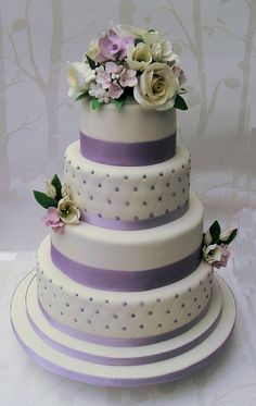 Lilac Four-Tier Wedding Cake with Flowers