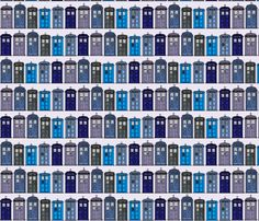 (Dr Who tardis fabric) T.A.R.D.I.S. fabric by theunicornandthewasp on Spoonflower - custom fabric