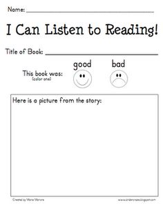 Kinder-Craze: mp3 Listening Center and Reading Response Form - FREEBIE!