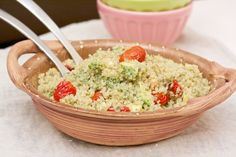 quinoa salad with roasted tomatoes, avocado, and pesto #recipe