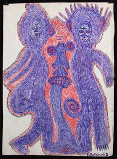 "Guyodo: ""Marassa I"", Ballpoint pen on recycled paper calendar (22 1/2"" x 16 1/4""), c. 2012,  Indigo Arts Gallery   Haitian Art  "