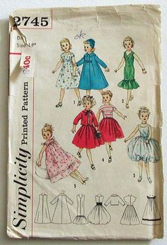 "Simplicity 2745-Revlon, Dollikin, Cissy and Toni Dolls - 14"", 18"", 21"" and 23"" dolls"