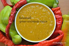 Put down that can of enchilada sauce! Try our Homemade Green Enchilada Sauce - easy, healthy and so delicious. Recipes With Enchilada Sauce, Green Enchilada Sauce, Sauce Recipes, Mexican Dishes, Mexican Food Recipes, Vegan Recipes, Cooking Recipes, Vitamix Recipes, Meatless Recipes