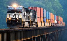 Intermodal stack train by Norfolk Southern, via Flickr