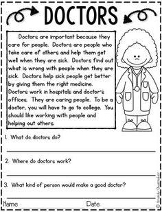 Community Helpers Preschool Discover Community Helpers: Doctor Community Helpers: Doctor by Brandy Shoemaker 1st Grade Reading Worksheets, First Grade Reading Comprehension, English Worksheets For Kids, Phonics Reading, Reading Comprehension Worksheets, Reading Passages, Teaching Reading, Comprehension Strategies, Reading Response