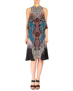 Spectra+Side-Tiered+A-Line+Dress,+Black/Blue+by+Mary+Katrantzou+at+Neiman+Marcus.