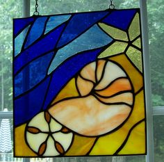 stained glass panel  shells and beach by AcornArtsStudio on Etsy, $60.00