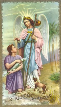 Most of our knowledge of the Archangel Raphael comes to us from the Book of Tobias. Because of his mission as a wonderful healer and t. Catholic Archangels, Four Archangels, Angels Among Us, City Of Angels, Angel Protector, St Raphael, Holy Mary, Angel Guide, San Rafael