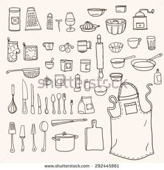 Cooking. Kitchen utensils collection in doodle style - stock vector