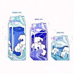 love the idea but as they get bigger have them go deeper and darker. Also add marine life and a gallon jug. Arte Do Kawaii, Kawaii Art, Animes Wallpapers, Cute Wallpapers, Pretty Art, Cute Art, Arte Copic, Anime Illustration, Creation Art