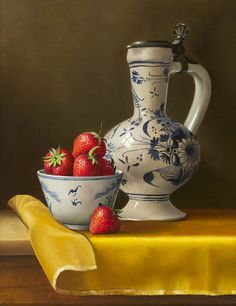 Johan de Fre. Strawberries and a Decorated Jug