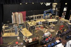 "First day of ""Full Circle"" set work at Wheaton Drama, 2013. Photo by Steven Merkel."