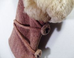 IN STOCK Ready To Ship Christmas Stocking Felted Wool Fur Cuff Nordic Fur Trim