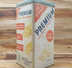 Vintage Cracker Tin, Premium Saltines, 1969, advertising