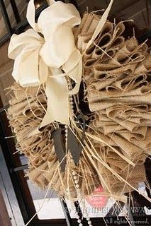 burlap wreath diy,,,,love the pearls  for you Pam
