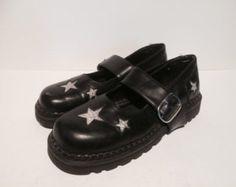 Vintage 1990s Demonia Mary Jane Creepers Shoes Platform Rockabilly Punk Size 7.5-8