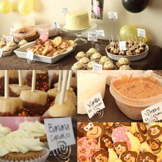 food ideas for Owen's monkey themed birthday party, love the idea of chocolate covered bananas and the banana smash cake