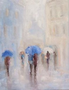 """Walking in the rain"" - Original Fine Art for Sale - © Astrid Buchhammer"