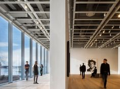 """Piano wanted the ground floor to be glassed in so that visitors would still feel like they were part of the city. He referred to the lobby as """"a piazza."""""""