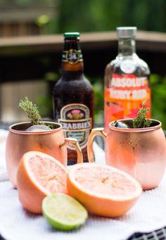 grapefruit vodka, vodka, craft cocktail, moscow mule, absolut GRAPEFRUIT THYME MULE