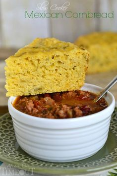 Slow Cooker Mexican Cornbread with Green Chiles and Cheese! | MomOnTimeout.com