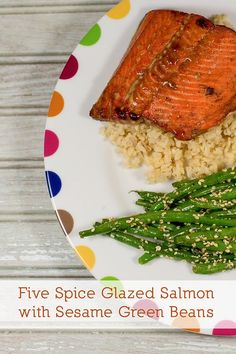 Five Spice Glazed Salmon with Sesame Green Beans - a fantastic one pan ...