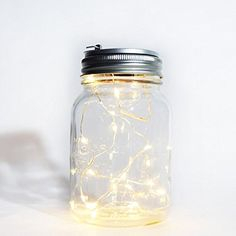$8.95  - Fantado Regular Mouth Clear Mason Jar Light w Hanging Warm White Fairy LED Kit by PaperLanternStore Battery Powered -- Click on the image for additional details. (This is an affiliate link) #LightingCeilingFans