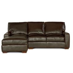 Contemporary Brown Leather Sofa Chaise Mayfair