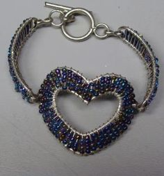 Blue Beaded Heart Bracelet - a BIG hunk of sterling silver and beads!