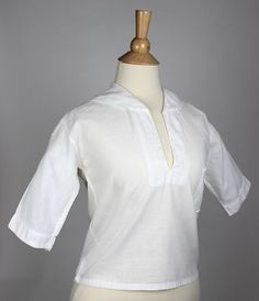 Antique Collared Women's Top with Pocket in White Cotton  | www.SarahElizabethGallery.com