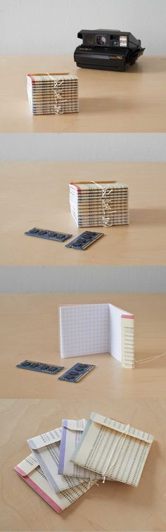 Back Pocket Jotters from Vintage IBM Punch cards and graph paper by Sarah (whynoteight.wordpress.com), via Etsy.