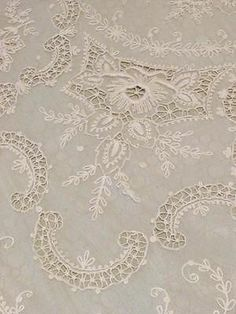 Gorgeous Antique French Net Coverlet Bedspread Tambour Lace Cutwork Embroidery | eBay Vintageblessings
