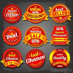 Delicate red discount tag vector