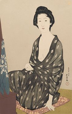 Woman in summer kimono.  Ukiyo-e woodblock print, 1920, Japan, by artist Hashiguchi Goyo
