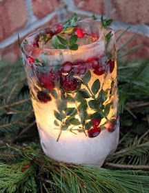 DIY Holiday ice lanterns.  I made these last year. They look beautiful in the snow. A nice way to light up the front porch or line the front walkway for a party.   I used evergreen cuttings like holly and Frasier fir plus cranberries.