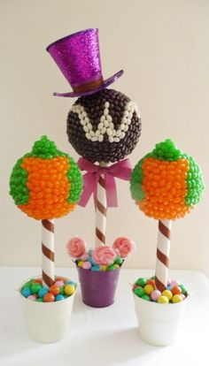 Willy Wonka Candy Trees -- super cute idea for centerpieces