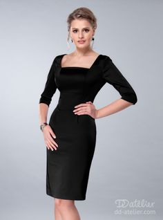 clothing for busty girls Satin Dress in Black