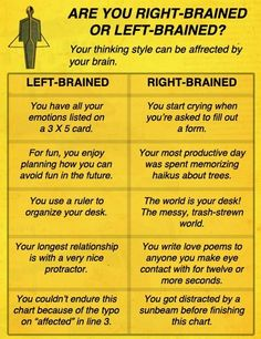 right brained vs. left brained