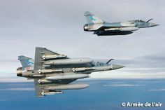 """Two French Armée de l'Air Dassault Mirage GC """"Cigognes"""" (""""Storks""""), equipped with air-air missiles MICA IR and EM to protect an entire air raid, whether the Rafale, or tanker - © Army of Air. Military Helicopter, Military Jets, Military Aircraft, Fighter Aircraft, Fighter Jets, Sukhoi Su 35, Photo Avion, Dassault Aviation, Air Raid"""