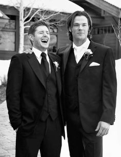 Jensen and Jared at Jared's wedding, 2010. Love how happy they look. :)