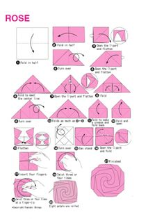 Origami Pink Rose, origami, paper making, paper folding, japanese origami, diy, craft, creative