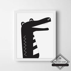"Plakat+""Krokodyl+-+czarny""+21x30cm+w+Mili-Art-Shop+na+DaWanda.com"